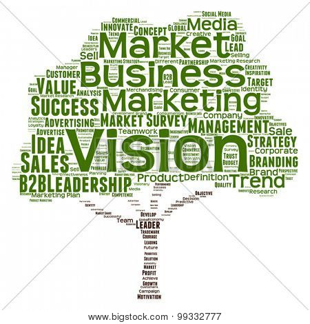 Vector concept or conceptual green tree leadership marketing or business word cloud