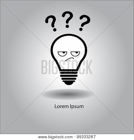 Illustration Vector Bulb With Curious Face And Three Question Mark.
