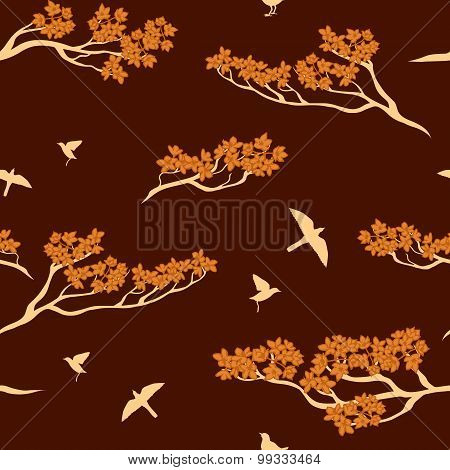 Seamless pattern of sakura tree