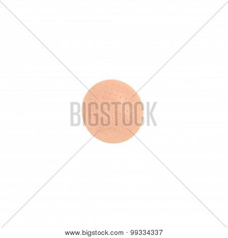 Close Up Of Circle Medical Patch Isolated On White