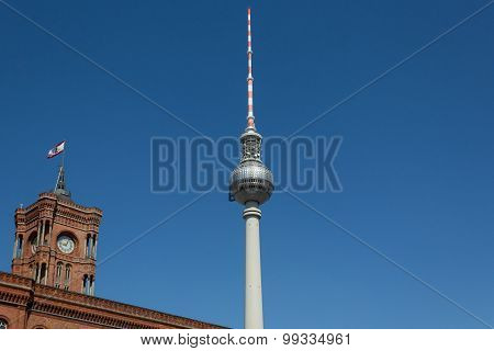 tv tower and red town hall , berlin germany