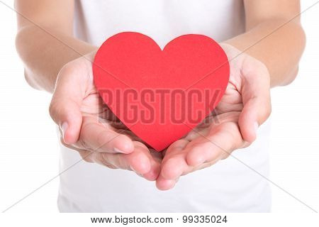 Love Concept - Young Man Holding Red Paper Heart
