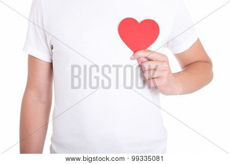 Health Care Concept - Man Holding Red Paper Heart Isolated On White
