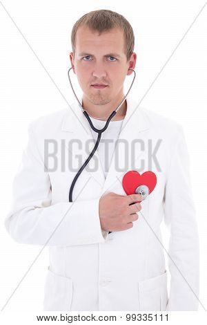 Health Care Concept - Doctor With Stethoscope Holding Red Paper Heart Isolated On White
