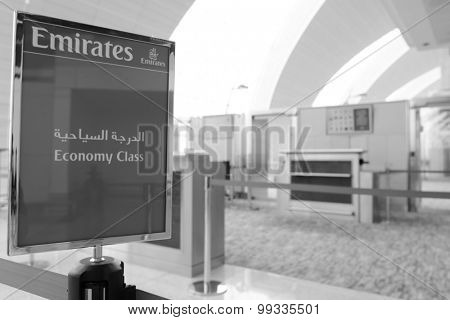 DUBAI, UAE - MARCH 31: airport interior. Dubai International Airport is an international airport serving Dubai. It is a major airline hub in the Middle East, and is the main airport of Dubai.