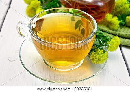 Tea of Rhodiola rosea in cup on light board