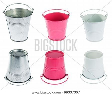 Galvanized, Red And White Bucket