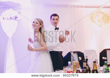 the bride in a restaurant