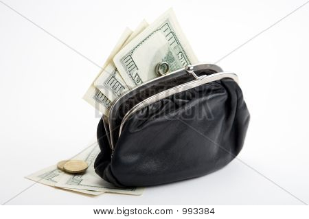 Purse With Cash On White Background