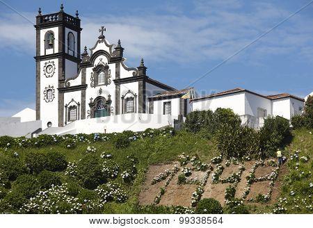 Traditional Azores Church In Porto Formoso. Sao Miguel Island. Portugal