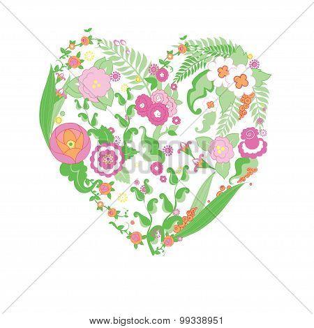 Wedding colorful flower heart.
