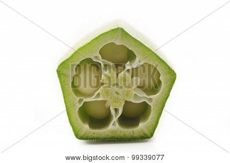Fresh Okra Slice On A White Background