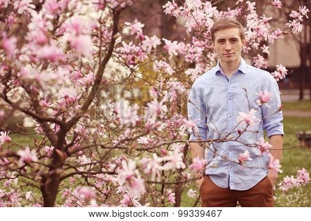 Man Standing Near Magnolia Tree
