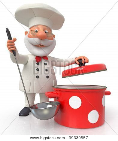 The Cook With A Pan And A Ladle