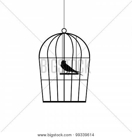 Sparrow In A Cage Black Vector