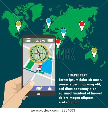 Hand Holding Smart Phone, Gps Map On Mobile.
