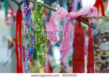 Multicolored Prayer Rags On A Tree