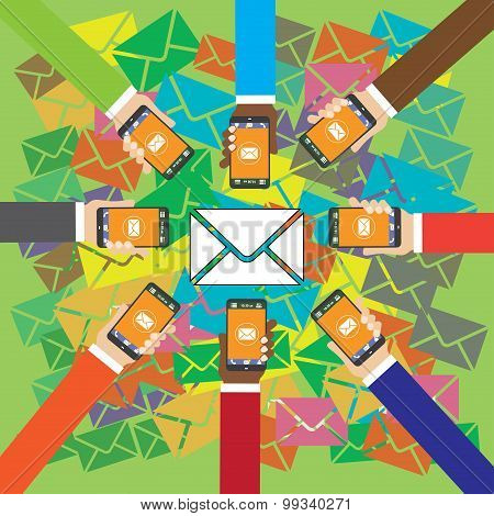 Many Hands Holding Smart Phones And Send Sms