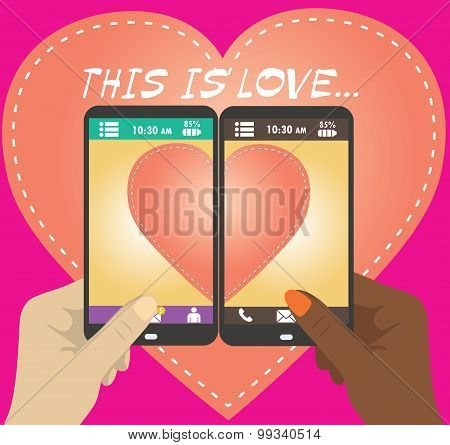 Love On Mobile. Vector Illustration Of Smart Phone.