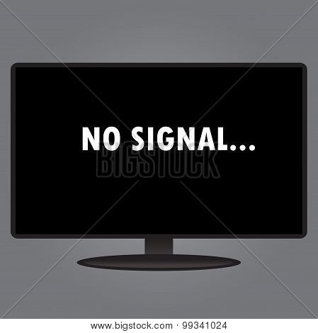 Inscription On The Tv Screen - No Signal, Flat Design