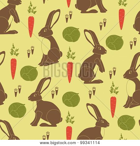 Brown rabbits, orange carrots, green cabbages and little footprints