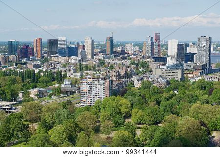 Aerial view to the buildings of Rotterdam, Netherlands.