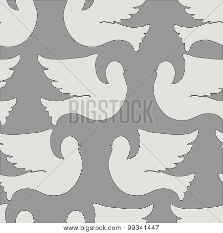 Doves and pigeons seamless pattern