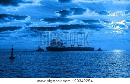 Tanker Ship At Night