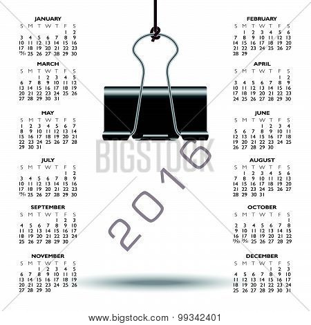 Whimsical binder clip 2016 calendar