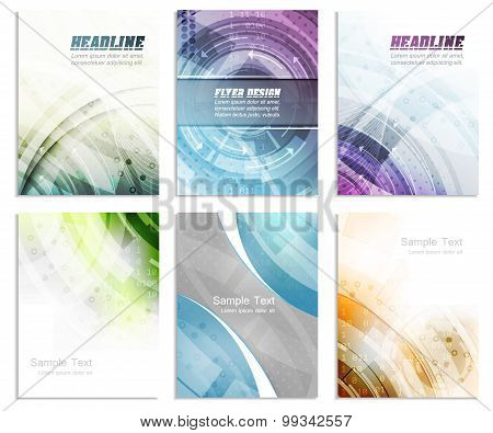 Set of abstract flyer template, magazine, brochure, cover design or corporate banner
