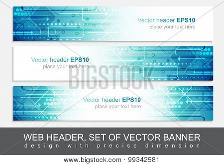 Website header or banner, vector abstract design template with technological pattern