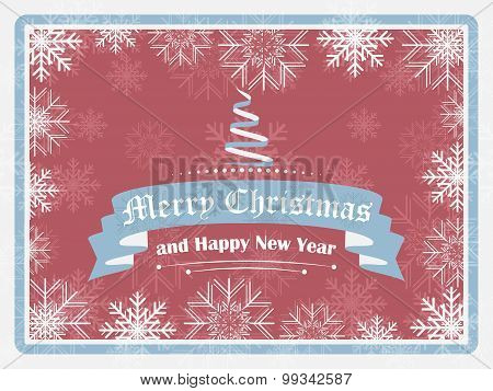 Merry Christmas and Happy New Year greeting in retro style
