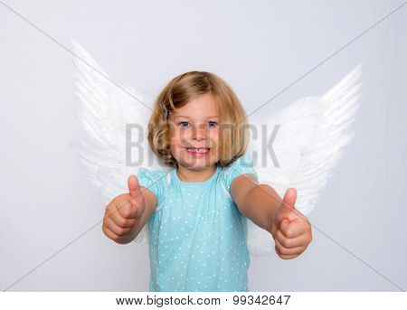 Little Blond Girl With Angel- Wings