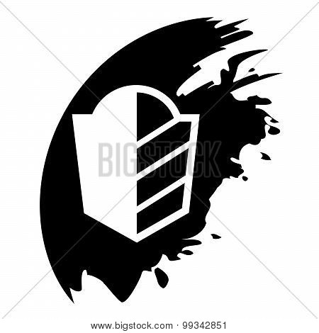 Protect, Security Sign, Vector Black Blot