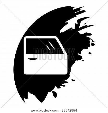 Car Door. Black Blot. Vector Illustration.