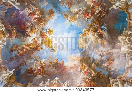 Ceiling Painting Of Palace Versailles Near Paris, France