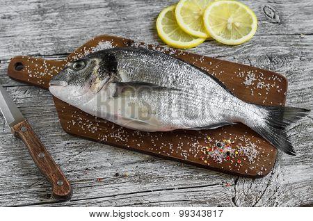 Fresh Dorado Fish On Light Wooden Background