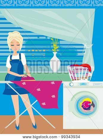 Housewife Ironing Clothes At Home