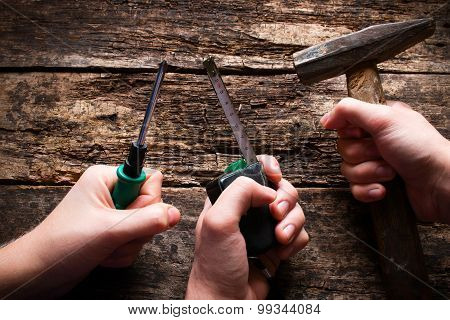 Hand With Building Tools On Labor Day