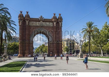 Barcelona, Spain - August 19: Arc de Triomf. Designed by Josep Vilaseca, it was built for the 1888 U