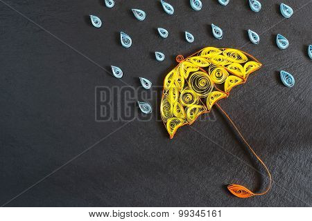 Umbrella And Raindrops On The Quilling Technique On Slate Board