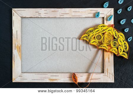 Frame From Birch Bark, Umbrella And Rain Drops In The Technique Of Quilling