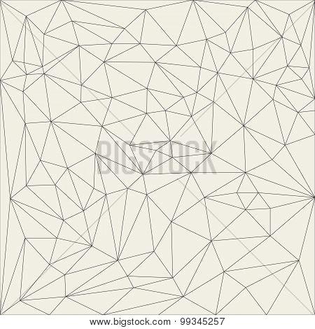 Irregular Abstract Linear Grid. Reticulated Monochrome Texture Pattern