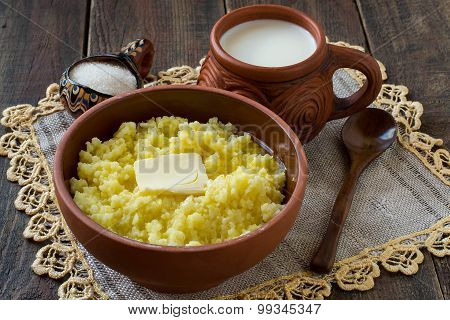 Millet Porridge With Butter And Milk