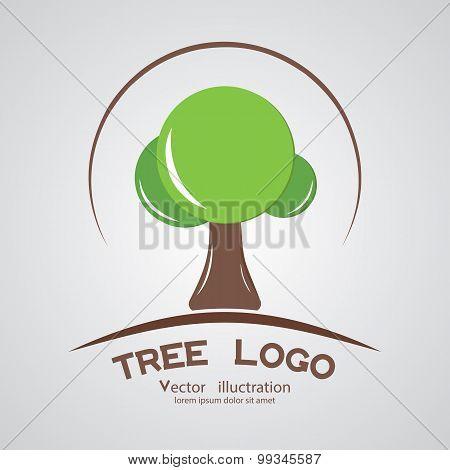 Green Circle Tree Logotype Branding Wood Company. In Vector
