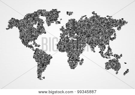 Dotted Round World Map. Abstract Vector Illustration.