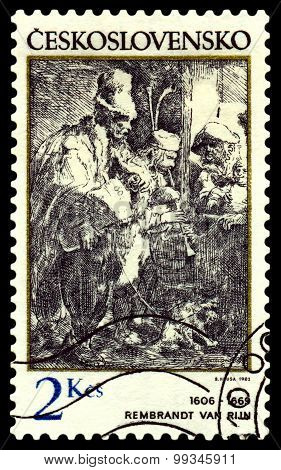 Vintage  Postage Stamp. Musiciants In A Hostel.