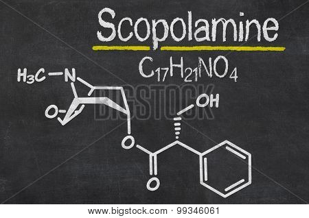 Blackboard With The Chemical Formula Of Scopolamine