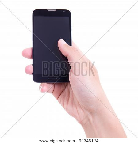 Smart Phone With Blank Screen In Hand Isolated On White