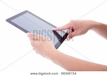 Male Hands Using Tablet Pc With Blank Screen Isolated On White